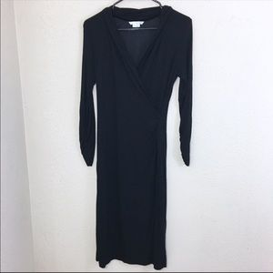Boden Claudia Faux Wrap Stretch Midi Dress Black 6